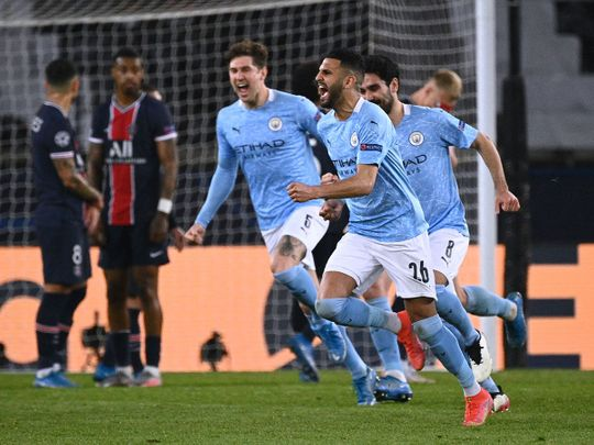 Manchester City celebrate Riyad Mahrez's goal against PSG