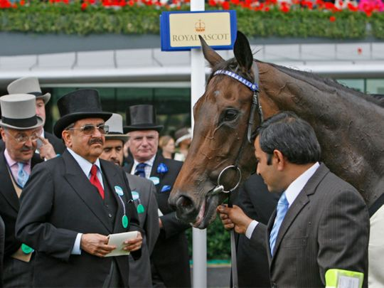 The late Sheikh Hamdan with Ghanaati. Shadwell will be hoping Mutasaabeq can honour him in the 2000 Guineas at Newmarket