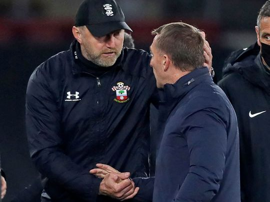 Southampton manager Ralph Hasenhuttl and Leicester City's Brendan Rodgers
