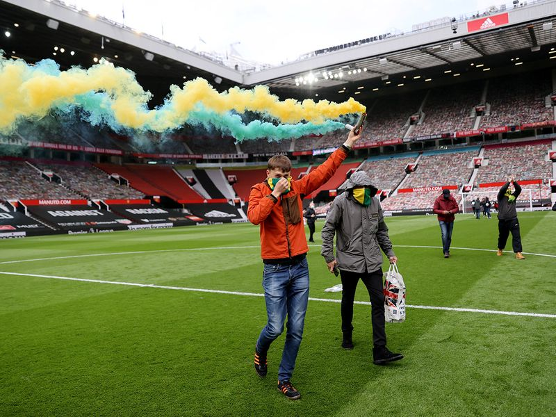 Manchester United fans invade the pitch. May 2, 2021.