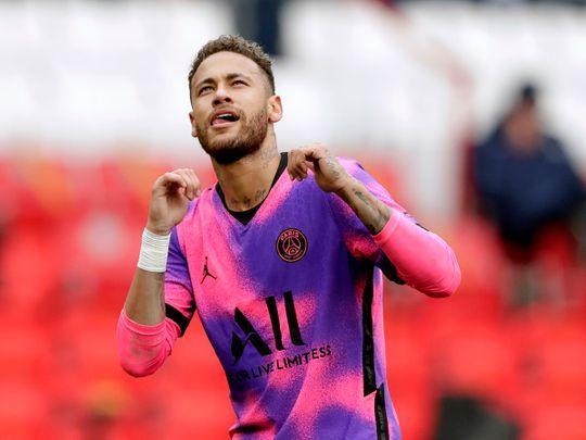 PSG's Neymar celebrates after scoring his side's first goal during a match between Paris Saint-Germain and Lens at the Parc des Princes stadium in Paris.