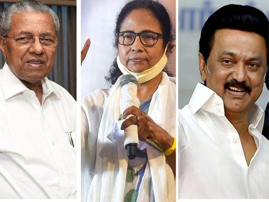 Pinarayi Vijayan, Mamata Banerjee and M K Stalin.