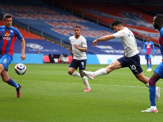 Sergio Aguero volleys home against Crystal Palace