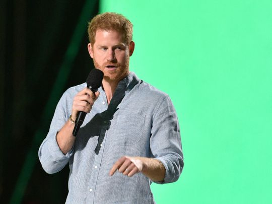 Co-Chair Britain's Prince Harry, Duke of Sussex, speaks onstage during the taping of the