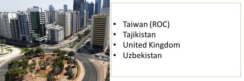 Taiwan (ROC) Tajikistan United Kingdom Uzbekistan