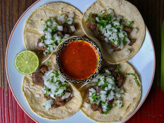 Flank steak Tacos, Chalcos restaurant