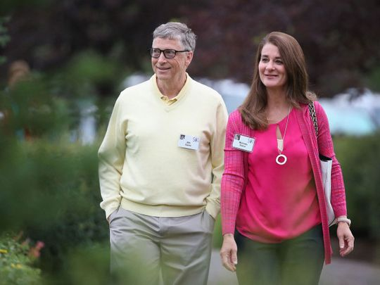 In this file photo taken on July 11, 2015 Billionaire Bill Gates, chairman and founder of Microsoft Corp., and his wife Melinda attend the Allen & Company Sun Valley Conference in Sun Valley, Idaho. - Bill Gates, the Microsoft founder-turned philanthropist, and his wife Melinda are divorcing after a 27-year-marriage, the couple said in a joint statement Monday. The announcement from one of the world's wealthiest couples, with an estimated net worth of some $130 billion, was made on Twitter.