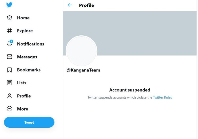 Kangana Ranaut's blocked Twitter account