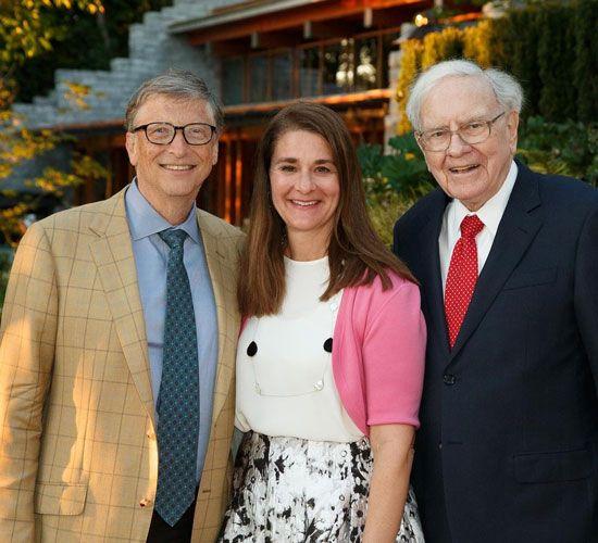 Melinda and Bill Gates and Warren Buffet