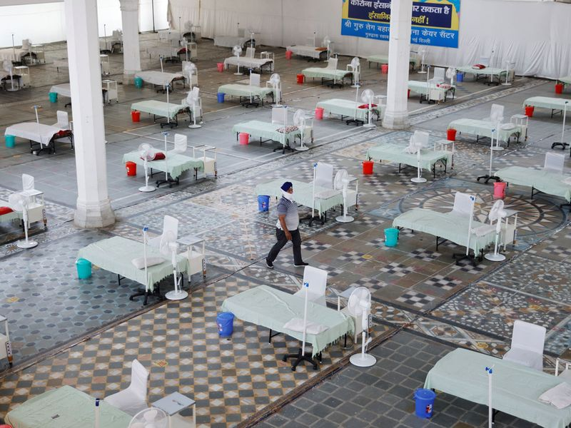 Beds are seen inside a Gurudwara (Sikh Temple) converted into a coronavirus disease (COVID-19) care facility amidst the spread of the COVID-19 in New Delhi, India May 5, 2021.