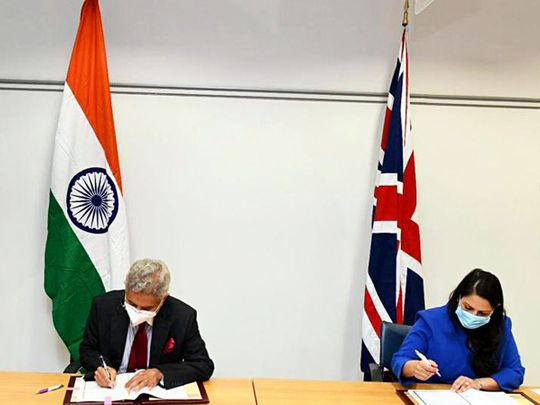 External Affairs Minister Dr. S. Jaishankar with Home Secretary of the United Kingdom Priti Patel, on Tuesday.