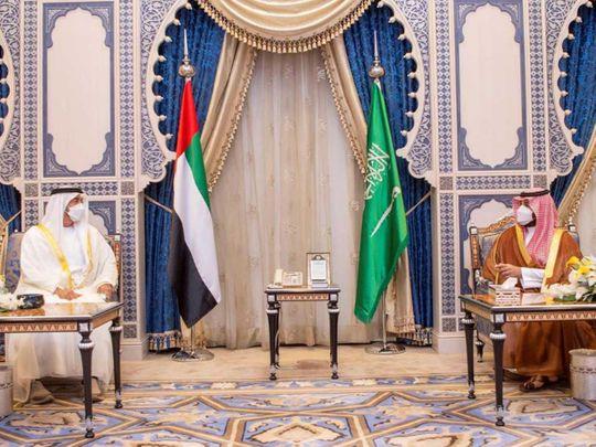 Mohamed bin Zayed and Mohammed bin Salman in Jeddah.