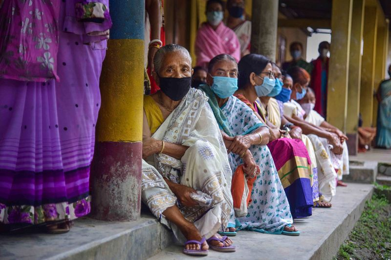 Nagaon: Citizens wait to receive a dose of COVID-19 vaccine, as coronavirus cases surge countrywide, in Nagaon, Wednesday, May 5, 2021.