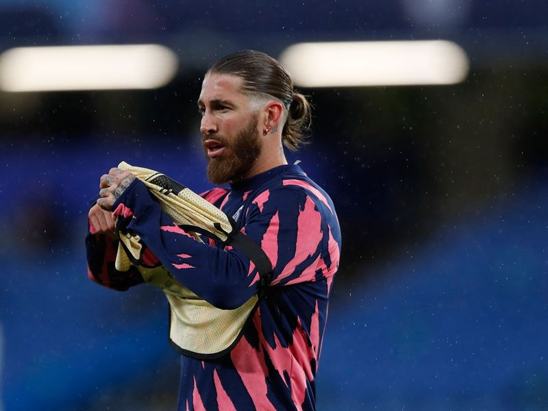 Sergio Ramos prepares for the game against Chelsea