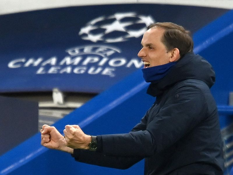 Chelsea boss Thomas Tuchel celebrates the UEFA Champions League second leg semi-final football match between Chelsea and Real Madrid at Stamford Bridge in London on May 5, 2021.