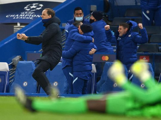 Chelsea manager Thomas Tuchel celebrates after defeating Real Madrid