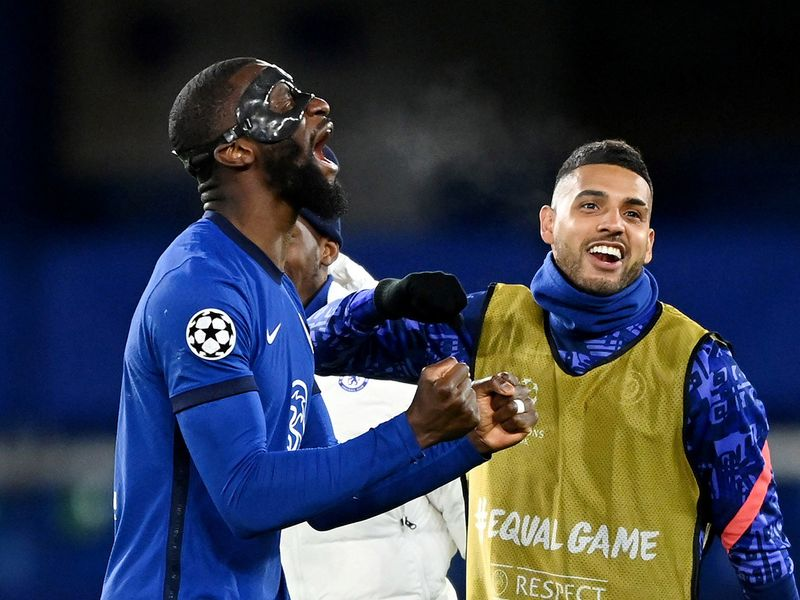 Chelsea's Antonio Rudiger celebrates after the Champions League semifinal against Real Madrid.
