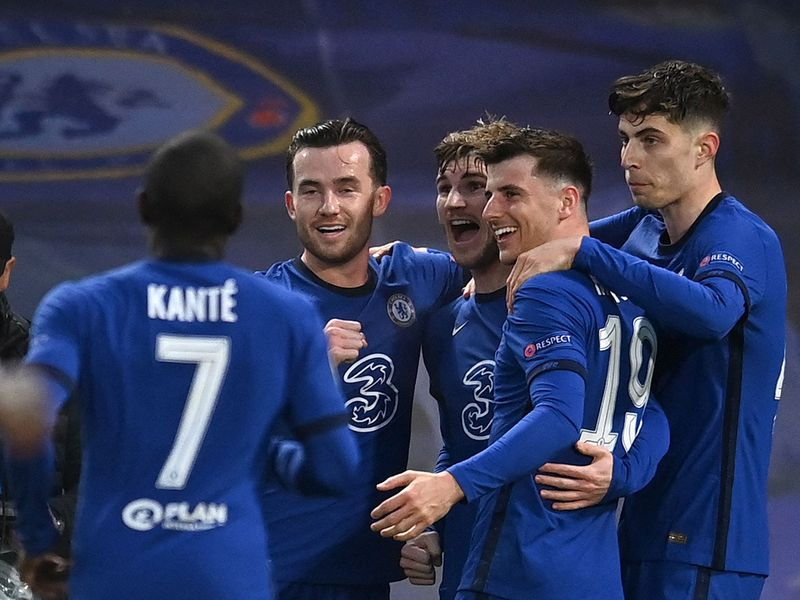 Chelsea's German striker Timo Werner (3R) celebrates scoring the opening goal during the UEFA Champions League second leg semi-final football match between Chelsea and Real Madrid at Stamford Bridge in London on May 5, 2021.