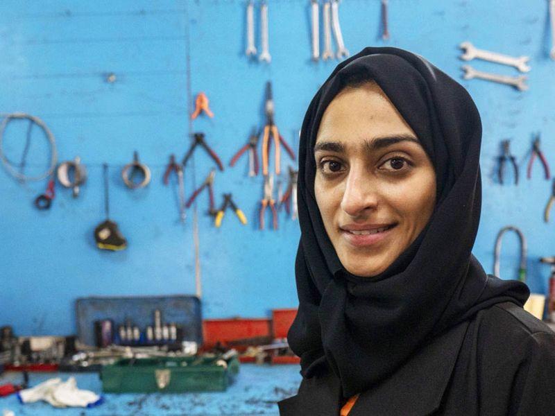 Huda Al Matroushi, the first Emirati female mechanic, at her IMEX Car Service in Sharjah Industrial Area 1, Sharjah.