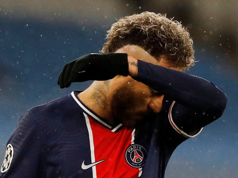PSG's Neymar after losing to Manchester City in the Champions League.