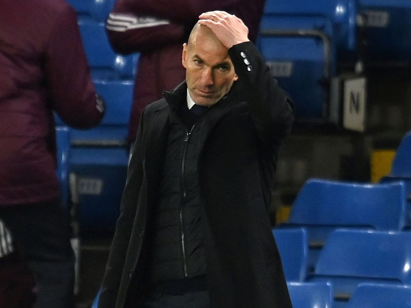 Real Madrid boss Zinedine Zidane reacts after crashing out of the Champions League.