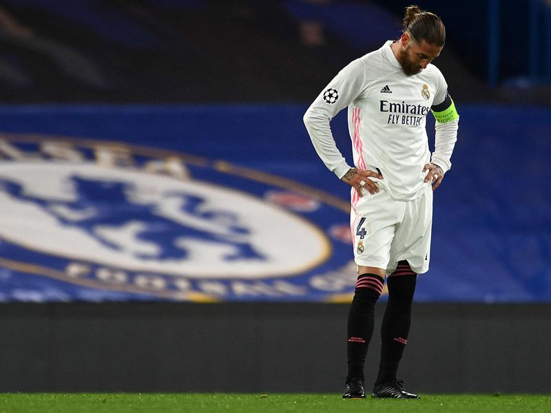 Sergio Ramos reacts to Real Madrid failing to get to Champions League semifinals after Chelsea loss.