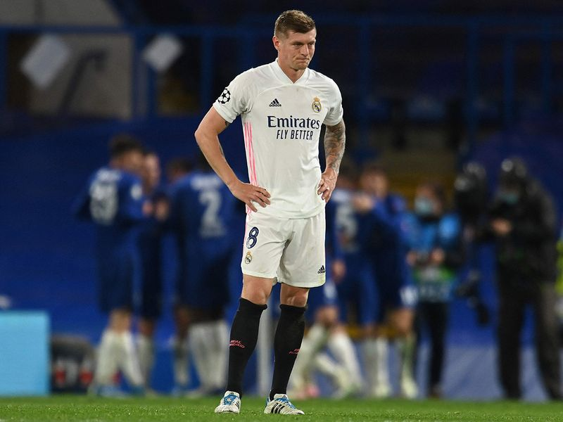 Toni Kroos reacts after Real Madrid lose to Chelsea in Champions League semifinal.