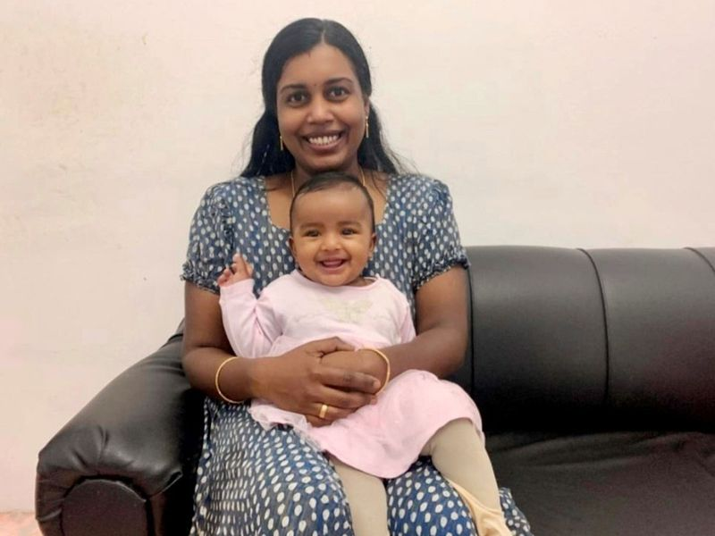 Ambily Babu and her daughter Isha Manu at their home in Abu Dhabi