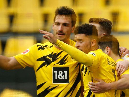 Jadon Sancho scored twice for Dortmund