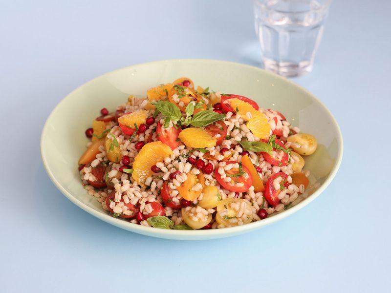 Farro and heirloom tomato salad
