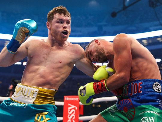 Mexican boxer Saul 'Canelo' Alvarez on his way to victory over Billy Joe Saunders