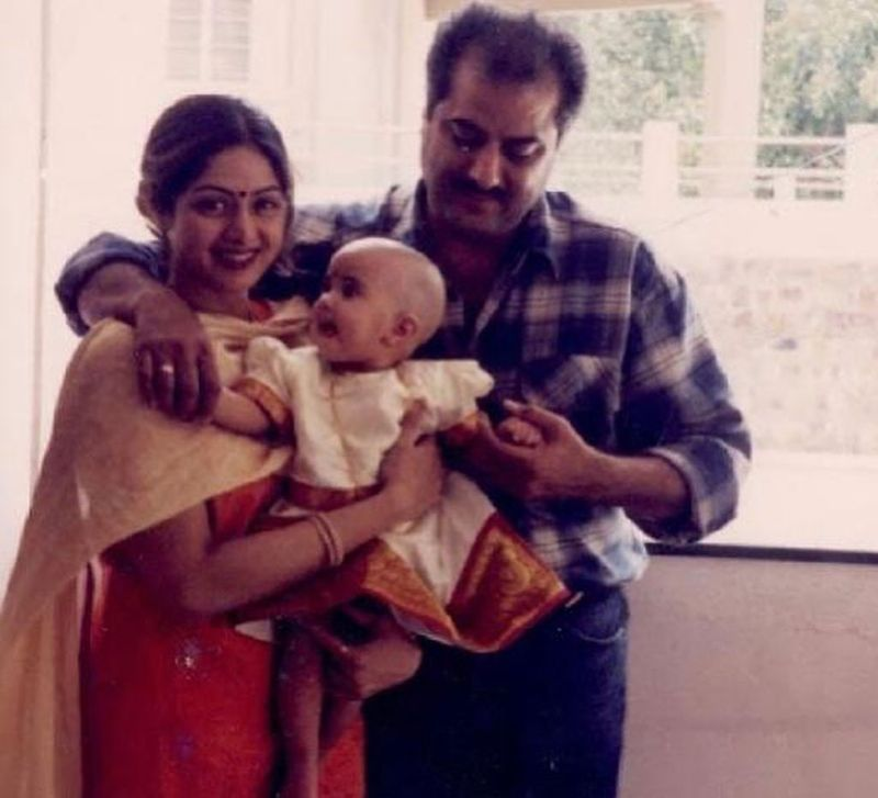 Sridevi, Boney Kapoor and Baby Jahanvi