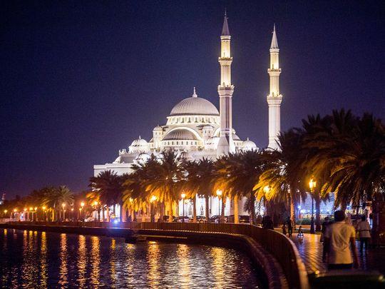 Stock Sharjah skyline Corniche