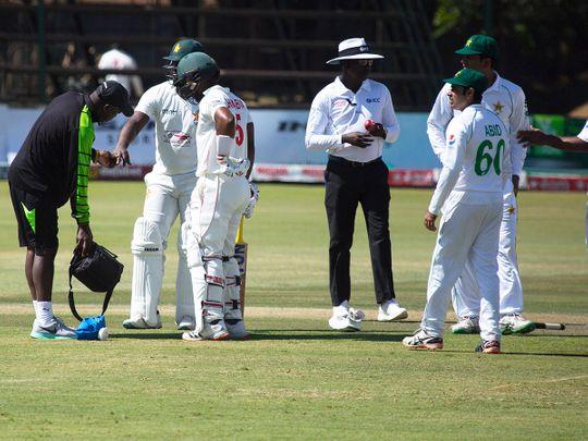 Zimbabwe batsman Regis Chakabva receives treatment against Pakistan