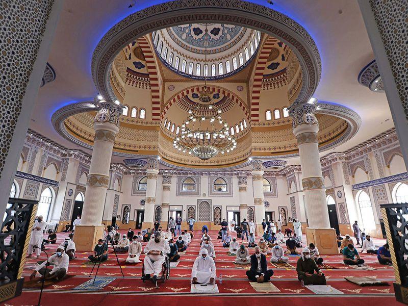 Al Farooq Omar Bin Al Khattab mosque (Blue Mosque) in Dubai.
