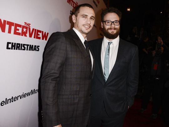 In this file photo, actors Seth Rogen, right, and James Franco attend the premiere of the Sony Pictures' film