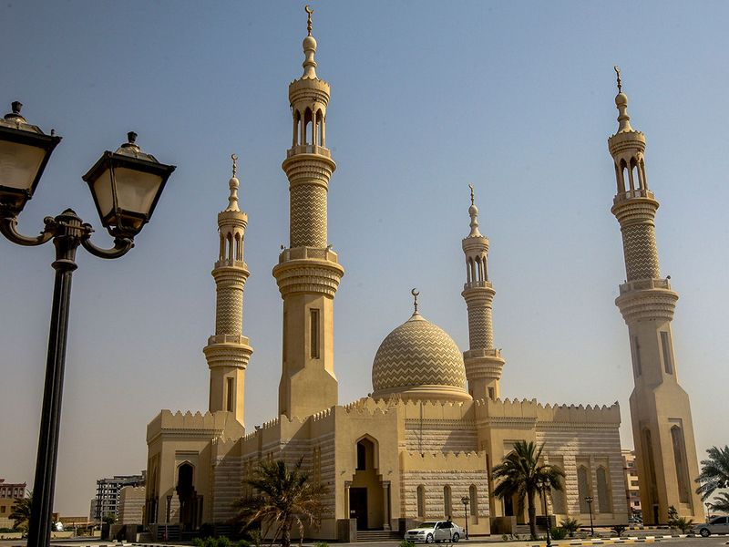 Sheikh Zayed Mosque opened in 2000 by Sheikh Rashid bin Ahmad Al Mualla, the Ruler of UAQ at the time. and located in Al Madar on King Faisal road, Umm Al Quwain.