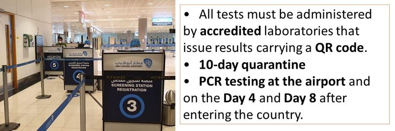•All tests must be administered by accredited laboratories that issue results carrying a QR code. •10-day quarantine  •PCR testing at the airport and on the Day 4 and Day 8 after entering the country.