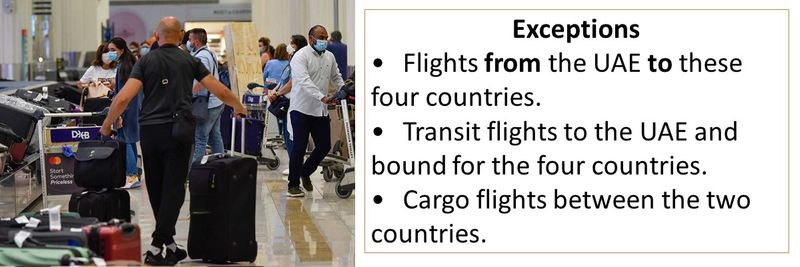 Exceptions •Flights from the UAE to these four countries. •Transit flights to the UAE and bound for the four countries. •Cargo flights between the two countries.