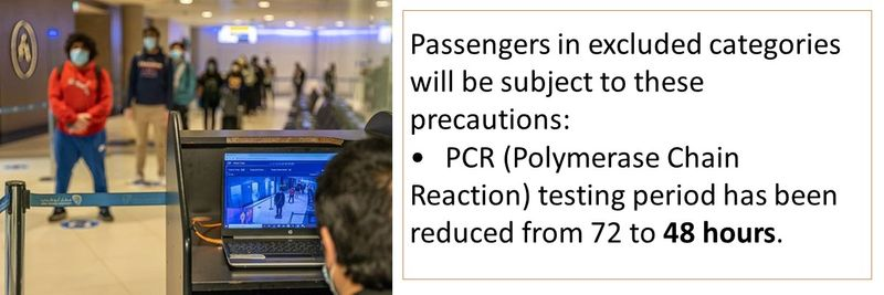 Passengers in excluded categories will be subject to these precautions: •PCR (Polymerase Chain Reaction) testing period has been reduced from 72 to 48 hours.