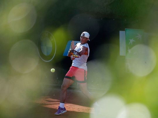 Rafael Nadal in training ahead of the Rome Masters