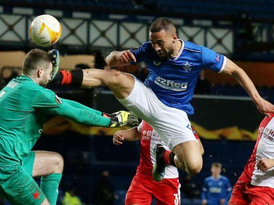 Rangers forward Kemar Roofe was sent off for a horror challenge on Slavia Prague goalkeeper Ondrej Kolar