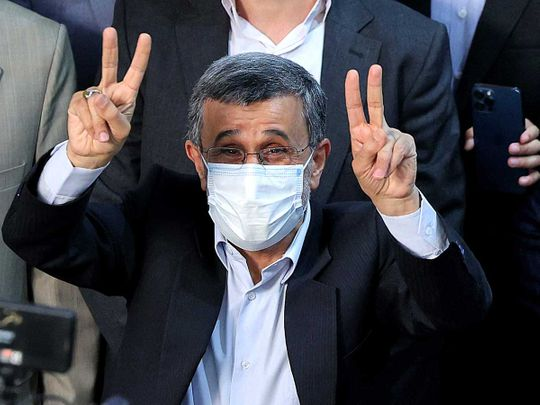 Iranian presidential candidate and former president Mahmoud Ahmadinejad