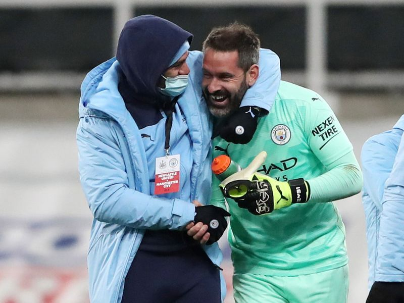 Ederson with Scott Carson after the Newcastle match