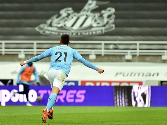 Ferran Torres scored a hat-trick for City against Newcastle