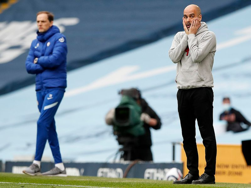 Chelsea's head coach Thomas Tuchel, left, and Manchester City's head coach Pep Guardiola.