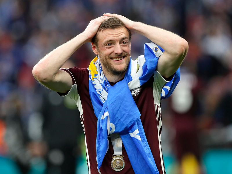 Jamie Vardy celebrates Leicester City's first ever FA Cup title.