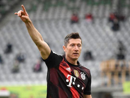 Robert Lewandowski has hit 40 goals for Bayern this season