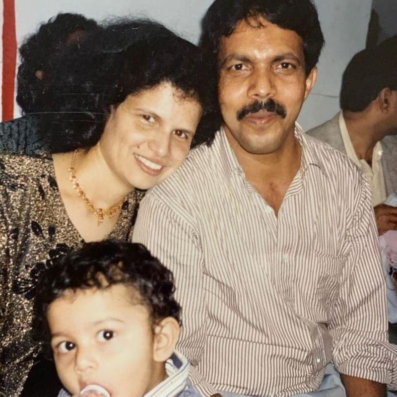 Adline Castelino with her parents