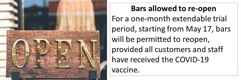 Bars allowed to re-open For a one-month extendable trial period, starting from May 17, bars will be permitted to reopen, provided all customers and staff have received the COVID-19 vaccine.